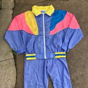 Vintage Windbreaker Track Suit Pastel Color Block